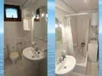 Bathroom with bathtub and top loader washing mashine!