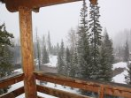 Deck view down Parowan canyon (obstructed here by snow)