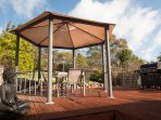 The gazebo on the patio/decking at back