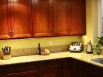 Kitchen, cherry cabinets and granite counter tops.