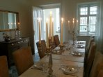 the separate dining room with a table for 14