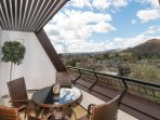Sunny south facing balcony, views to the left towards Windermere, in front Ambleside and Loughrigg.