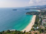 Kata Noi beach is at the front , kata beach  is the half moon and Karon beach is at the top .