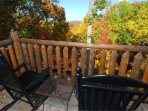 Relax on the back balcony with a glass of wine or cold beverage after a day of hiking or shopping!!