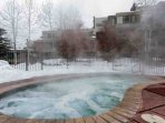 Large outdoor hot tub to soak away sore muscles from summer and winter adventures on the mountain.