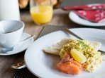 Cooked and continental breakfasts as part of your half-board catered ski holiday in Sainte Foy.