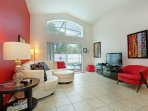 View of spacious family room with vaulted ceilings
