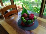 Homegrown, hand-picked and available for our guest: Fresh fruits and eggs from the property.