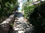Viale del giardino che porta al cancello posteriore con accesso privato al mare