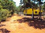 Casa amarela, vista do lado no final da estrada. 100 metros da casa.