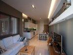living room, kitchen