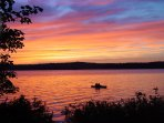 Enjoy a sunset boat ride with our canoe, kayak or rowboat