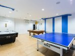 Play ping-pong and soccer in our recreation room