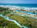 Grand Mayan Acapulco - aerial view of lazy river, pool and beach area
