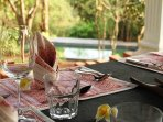 Gazebo dinning. Pool in the background. Champakali has excellent staff and service.