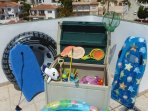 The Childrens Secret Box on the roof terrace. Whats in it you never know!