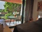 Sleeping room with the balcony