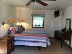 Master Bedroom with King size bed, a/c & ceiling fan