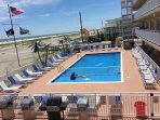 Beach front Professional maintained heated pool with kiddie section