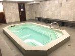 Indoor Hot Tub, Sauna & Locker Rooms in the basement of Building 1.