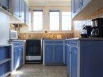 First floor flat blue lavender Kitchen
