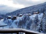 Balcony view winter wonderland