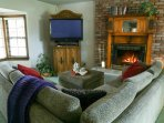 Great place to hang out and watch your favorite show on the large sectional by the cozy fire in the