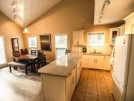 Open, with granite counters and room for everyone
