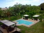 Overhead view of huge pool (10m x 5m) and 2700 square meter garden.