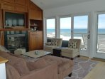 Living Room with two sets of sliding glass doors to large deck/ocean views!