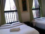 Lower lever bedroom with 2 queen sized beds. Sleeps 4 persons