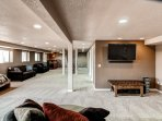 This downstairs space is perfect for watching your favorite movie with your family.