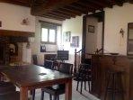 Reception desk and breakfast area