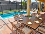 Relax and enjoy poolside patio dining