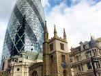 A mixture of the old and the new: the Gherkin (2003) and St Andrew Undershaft Church (1534).