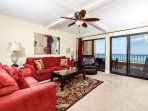 Equal in style and comfort this Gulf front living area has it al