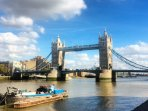 Tower Bridge is 6 tube stops from local station Farringdon. Or 40 mins walk along the River Thames.