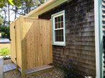 Enclosed outdoor shower with hot and cold water-120 Riverside Drive-West Harwich Cape Cod New England Vacation Rentals
