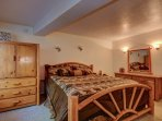 Luxurious&Romantic Master Bedroom with Cali King Knotty Pine Log Bed and Plus