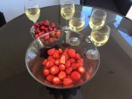 Strawberries and  champagne on the  terrace