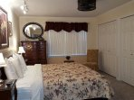 Ozark Mountain View King Bedroom with ceiling fan, TV, Extra outlets and USB ports.