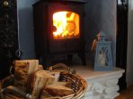 We provide plenty of seasoned / kiln dried hard wood for the burner.