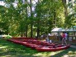 Many canoe hire bases within a few minutes walk