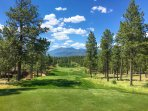 View of the San Francisco Peaks and golf course from within Pine Canyon!
