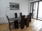 Large dining table, seating for 6.
