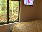 Second bedroom window and TV.