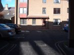 Car park at rear of building from Gracefield Court. Rear entrance to building
