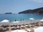 Sun loungers at Delibo Beach Club in Villefranche right by the sea.....