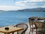 the best early  coffiee in the city of kastela close to blue sea