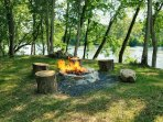 Campfire pit with room to sit just feet away from the mighty river!